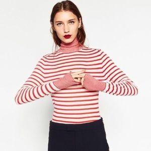Zara black & white striped turtleneck size M